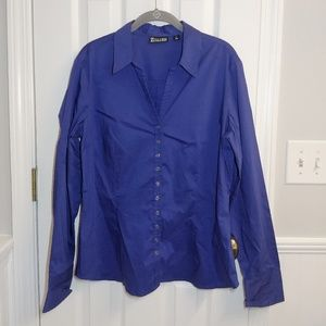 Royal Blue Button Front XL Blouse - 7th Avenue